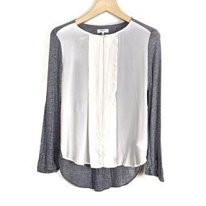 Aritzia Babaton Silk Front Long Sleeve Blouse